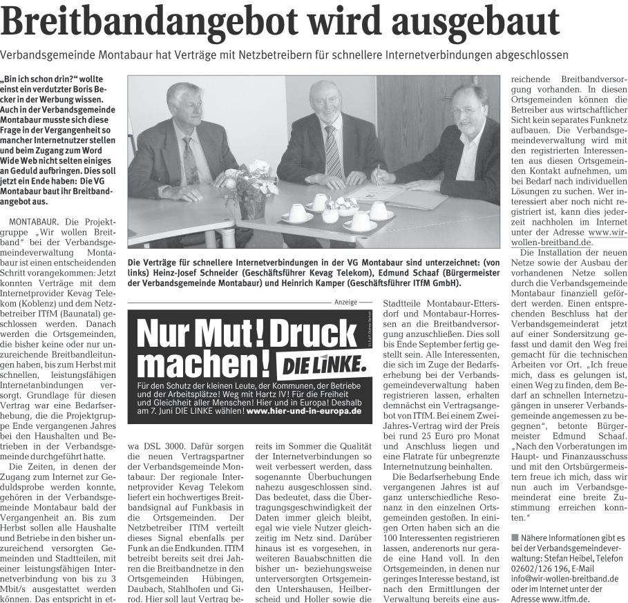 Westerwälder Zeitung 04.06.2009